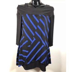 Joseph Ribkoff Knit Top Blue Black Cold Shoulder